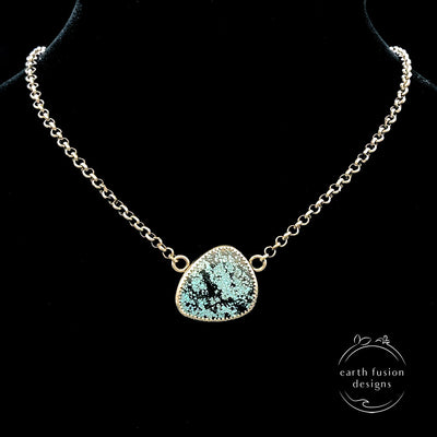 Hubei Turquoise Sterling Silver Mountain View Reversible Necklace