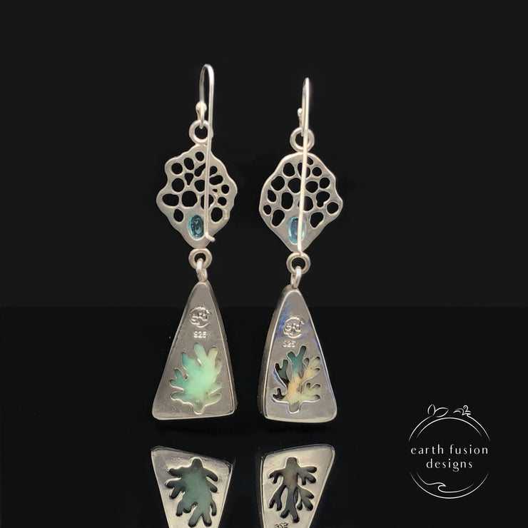Indonesian Opalized Wood and Apatite Sterling Silver Ocean Fan Drop Earrings Back View