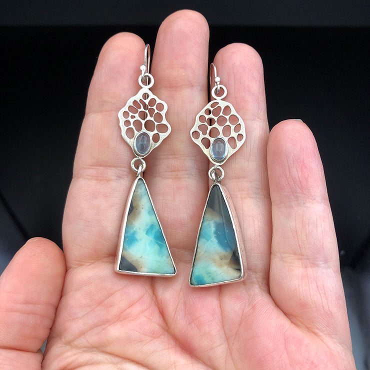 Indonesian Opalized Wood and Apatite Sterling Silver Ocean Fan Drop Earrings Size Comparison