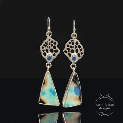 Indonesian Opalized Wood and Apatite Sterling Silver Ocean Fan Drop Earrings