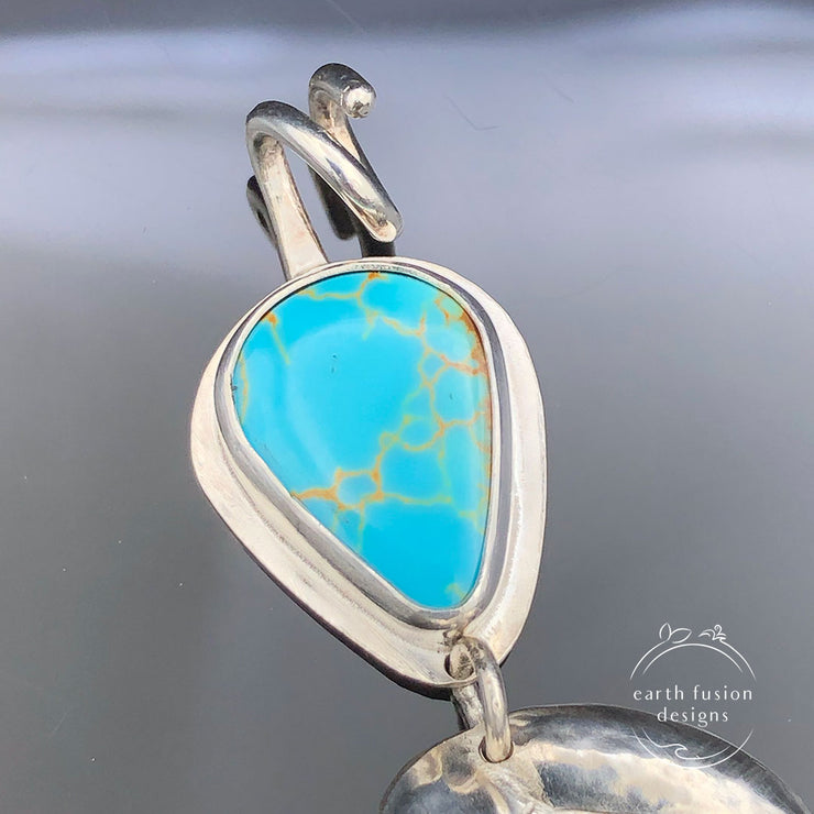 Kings Manassa Turquoise and Sterling Silver Repoussé Leaf Pendant Closeup View of Turquoise