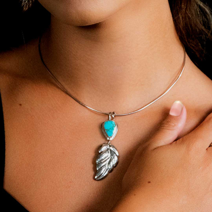 Kings Manassa Turquoise and Sterling Silver Repoussé Leaf Pendant on Model