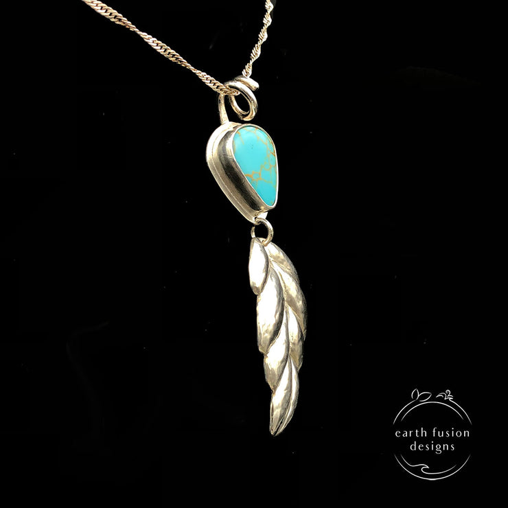 Kings Manassa Turquoise and Sterling Silver Repoussé Leaf Pendant Side View