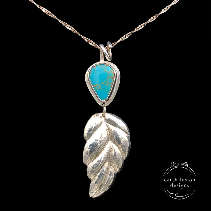 Kings Manassa Turquoise and Sterling Silver Repoussé Leaf Pendant