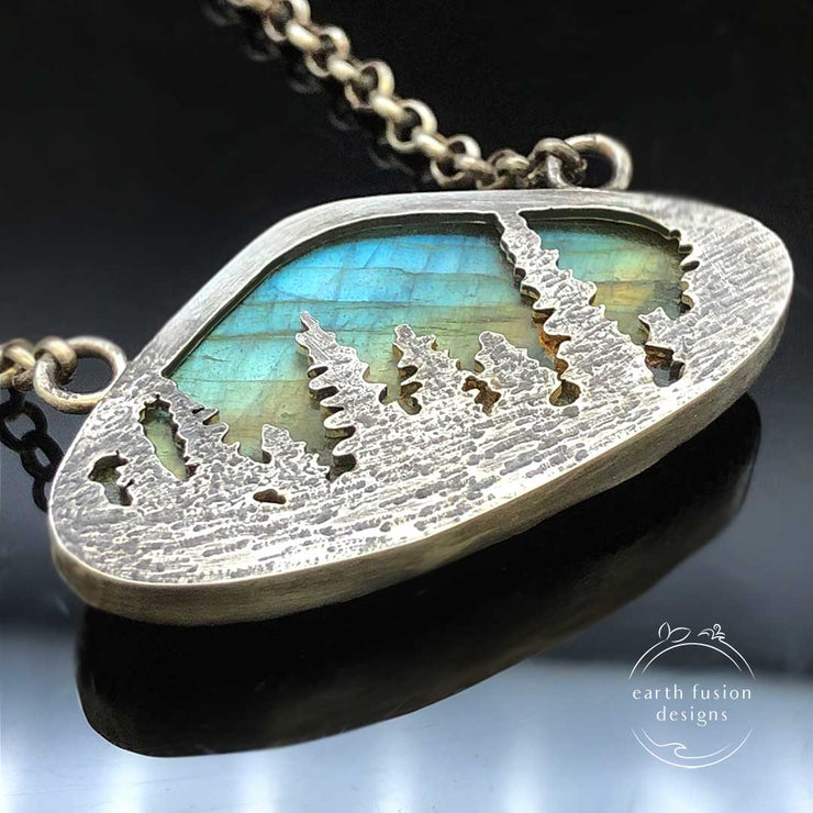 Labradorite Sterling Silver Aurora Borealis Forest Reversible Necklace