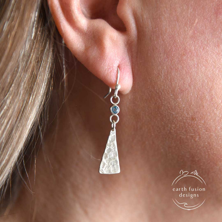London Blue Topaz Sterling Silver Triangle Drop Earrings