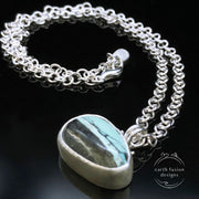 Mystic Sage Variscite Sterling Silver Wave Reversible Necklace