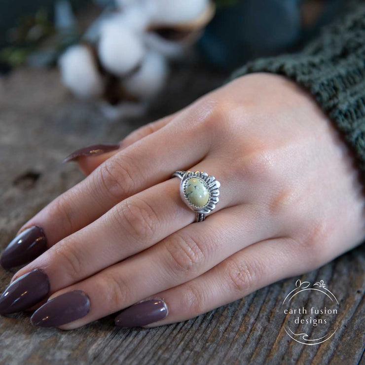 New Lander Turquoise Sterling and Argentium Silver Shell Ring on Model