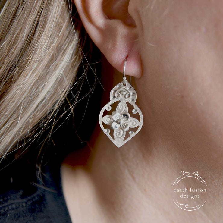 Sterling Silver Floral Arabesque Earrings on Model