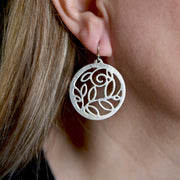 Sterling Silver Pierced Vine Medallion Earrings on Model