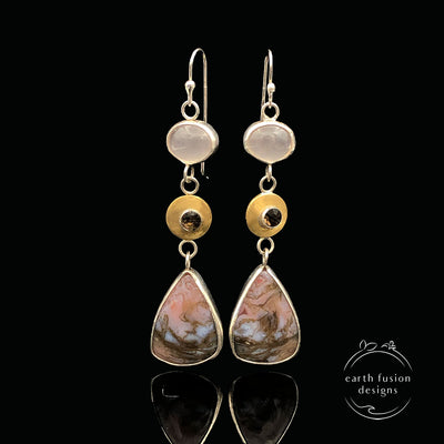 Rose Quartz, Smoky Quartz, Ocean Jasper Sterling Silver and Brass Drop Earrings