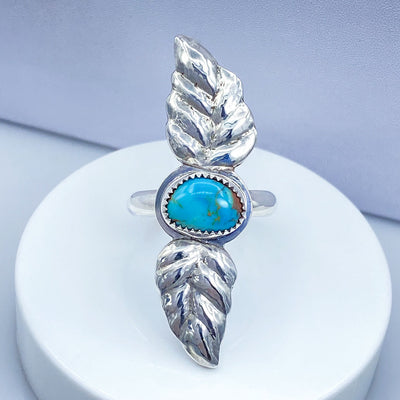 Royston Turquoise Sterling Silver Double Leaf Repoussé Ring Top