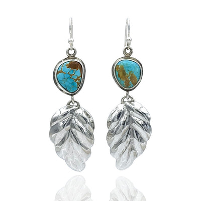 Royston Turquoise and Sterling Silver Repoussé Leaf Earrings