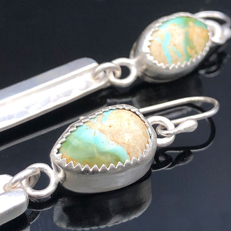Turquoise and Sterling Silver Bar Earrings Closeup