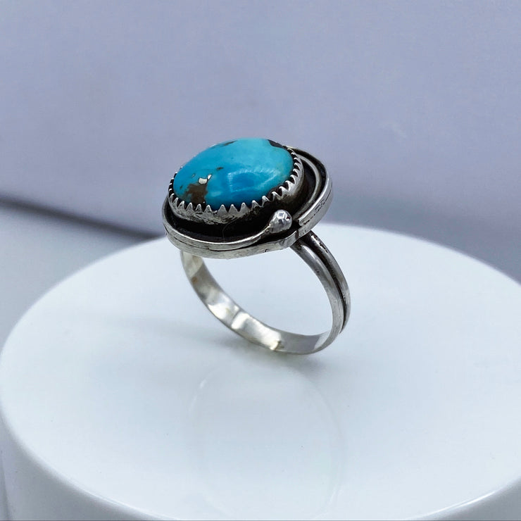 Royston Turquoise Sterling Silver Birds Nest Ring Three Quarter View