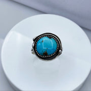 Royston Turquoise Sterling Silver Birds Nest Ring Top