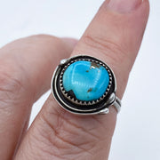 Royston Turquoise Sterling Silver Birds Nest Ring on Finger