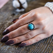 Royston Turquoise Sterling Silver Birds Nest Ring on Model