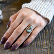 Royston Turquoise Sterling Silver Double Band Ring on Model's hand