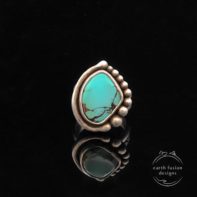 Royston Turquoise Sterling Silver Bead Half Orbit Ring