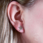 Sterling Silver Bird Post Earrings on Model