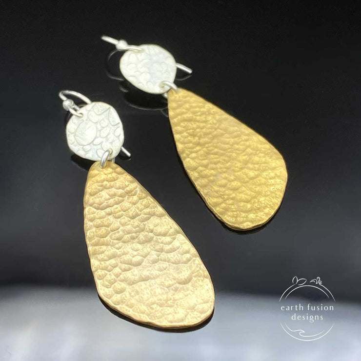 Textured Sterling Silver and Hammered Brass Abstract Earrings Alternate view of them laying flat