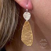 Textured Sterling Silver and Hammered Brass Abstract Earrings on Model