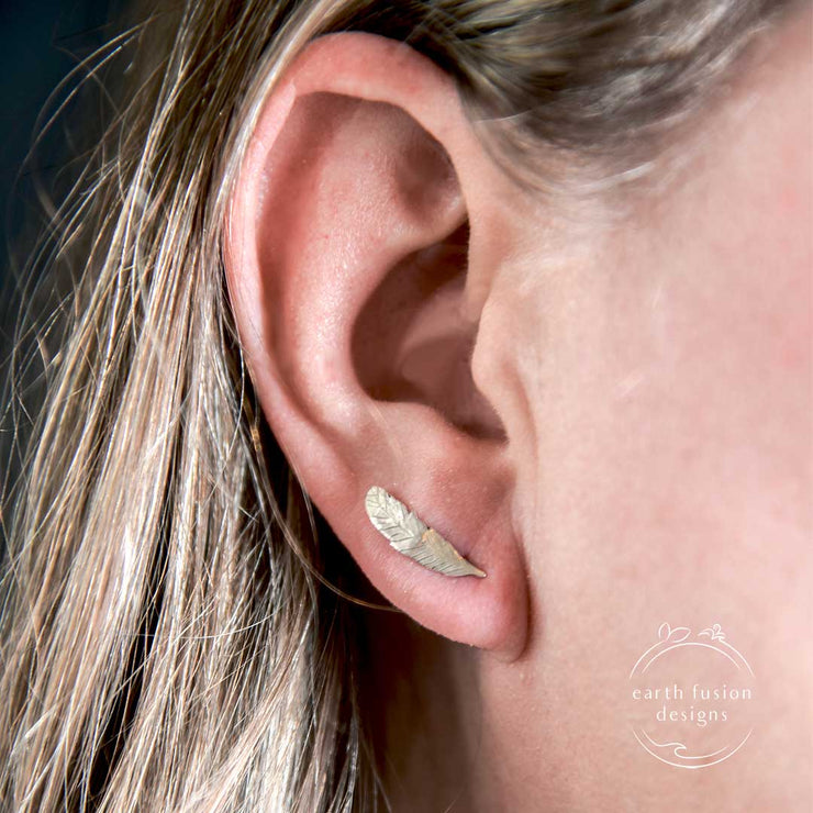 Sterling Silver Feather Ear Climber Post Earrings on Model