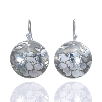 Sterling-Silver-Floral-Textured-Domed-Medallion-Earrings