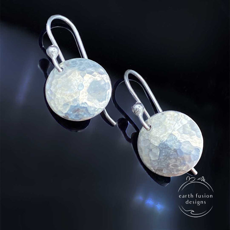 Sterling Silver Hammered Disc Earrings Closeup