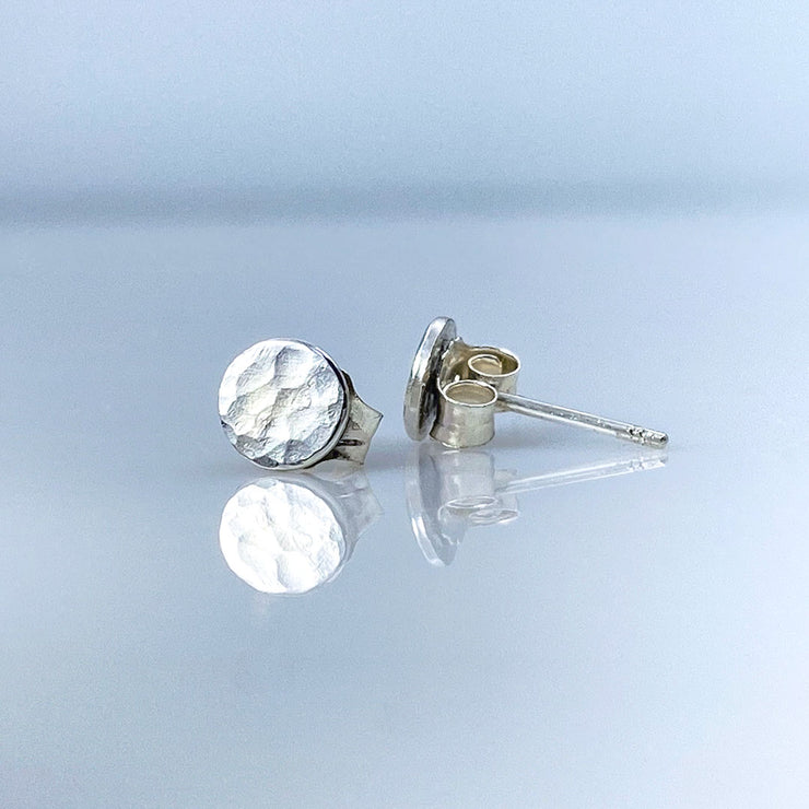 Sterling Silver Hammered Disc Post Earrings showing earring back and post