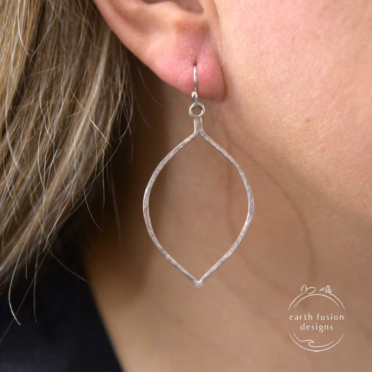 Sterling Silver Hammered Teardrop Earrings on Model