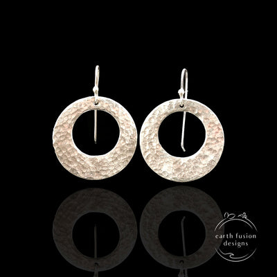 Sterling Silver Hoop Drop Earrings Large