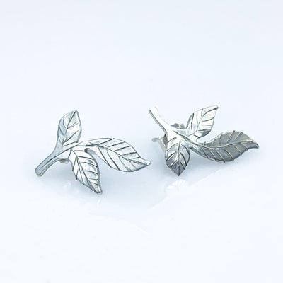 Sterling Silver Three Leaf Ear Climber Post Earrings