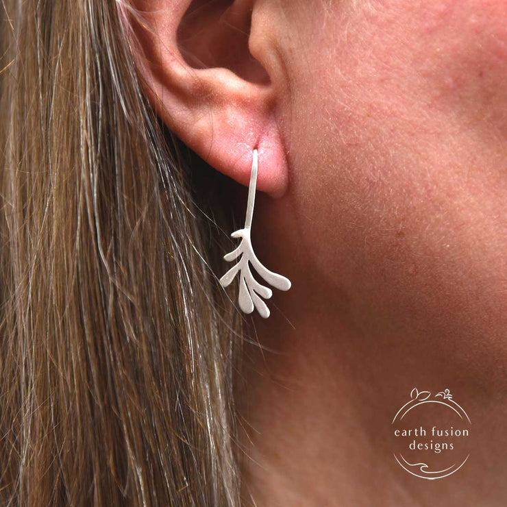 Sterling Silver Modern Leaf Threader Earrings on Model