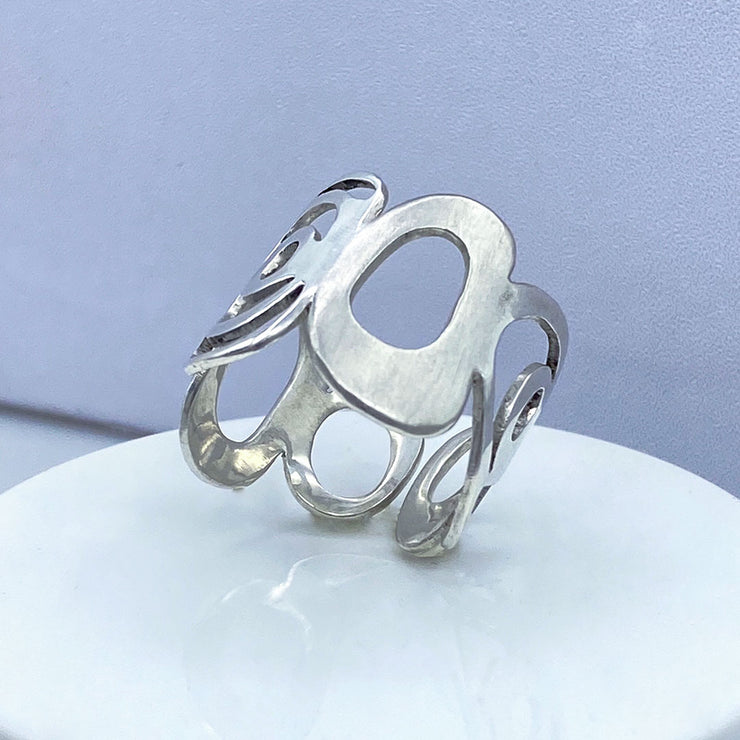 Sterling Silver Modern Freeform Circles Adjustable Ring Three Quarter View