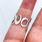 Sterling Silver Modern Freeform Circles Adjustable Ring on Finger Back View