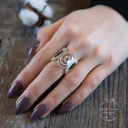 Sterling Silver Modern Freeform Circles Adjustable Ring on Model
