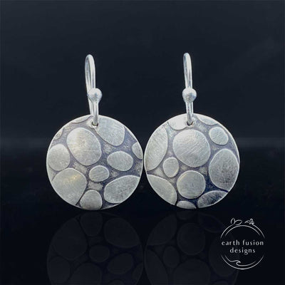 Sterling Silver Pebble Textured Disc Drop Earrings