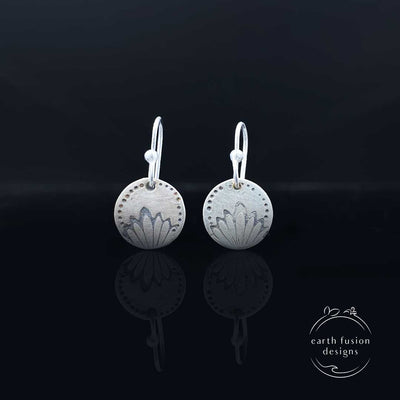 Sterling Silver Petal Stamped Disc Earrings