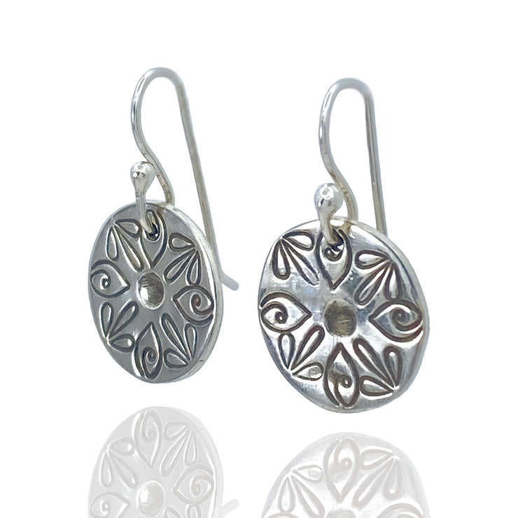 Sterling Silver Radiant Petal Stamped Disc Earrings three quarter view