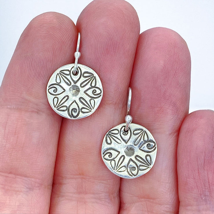Sterling Silver Radiant Petal Stamped Disc Earrings Size Comparison to hand
