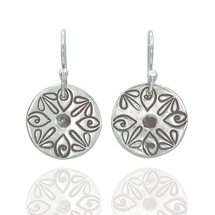 Sterling Silver Radiant Petal Stamped Disc Earrings