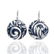 Sterling-Silver-Swirl-Textured-Domed-Medallion-Earrings