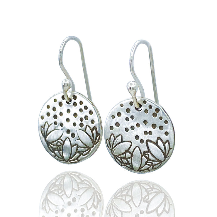 Sterling Silver Lotus Flower Stamped Disc Earrings Three Quarter View