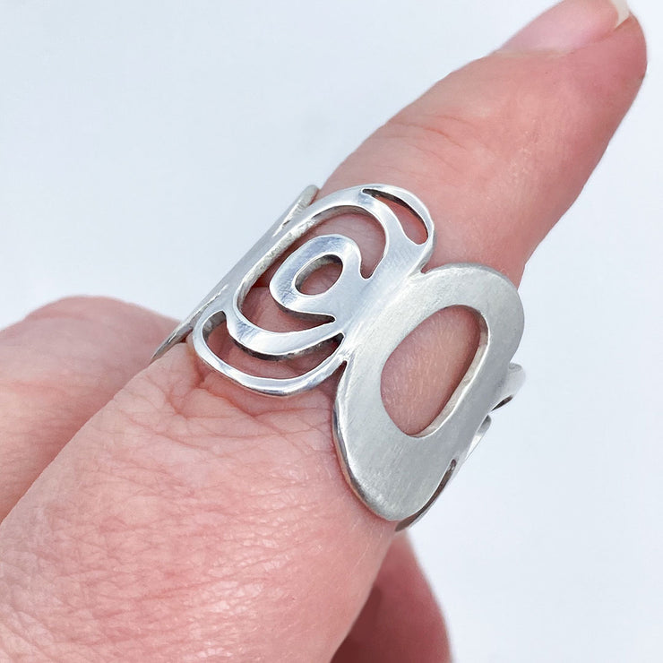 Sterling Silver Modern Freeform Circles Adjustable Ring on Finger Side View