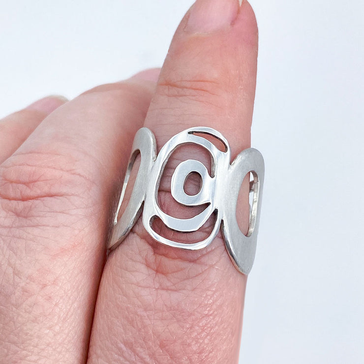 Sterling Silver Modern Freeform Circles Adjustable Ring on Finger