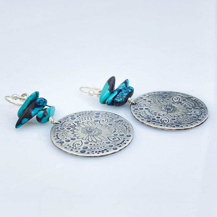 Turquoise Beaded Sterling Silver Stamped Medallion Earrings Laying Flat side view