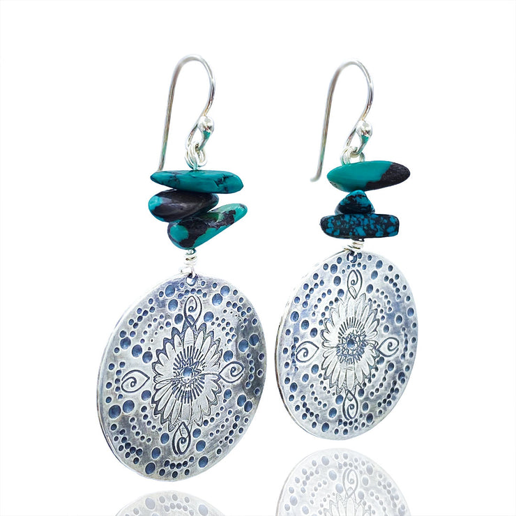 Turquoise Beaded Sterling Silver Stamped Medallion Earrings Laying Flat three quarter view