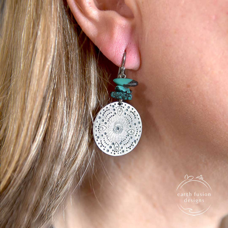 Turquoise Beaded Sterling Silver Stamped Medallion Earrings on Model